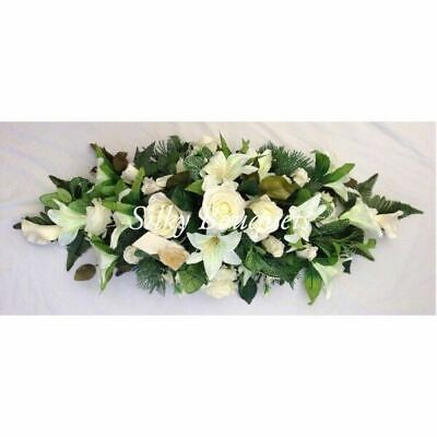 Artificial Silk Funeral Flower Coffin Spray Tribute Casket Topper Wreath Lily