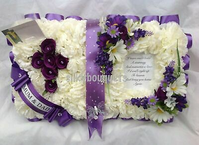 Artificial Silk Funeral Flower Bible Open Book Wreath Tribute Memorial Mum Dad
