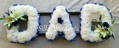 Dad Artificial Silk Funeral Flower Any 3 Letter Tribute Name Wreath Mum Nan Son