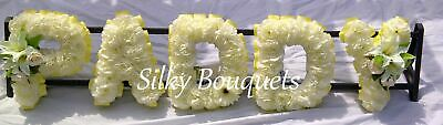 Artificial Silk Funeral Flowers Any 5 Letter Name Tribute Memorial Wreath Uncle