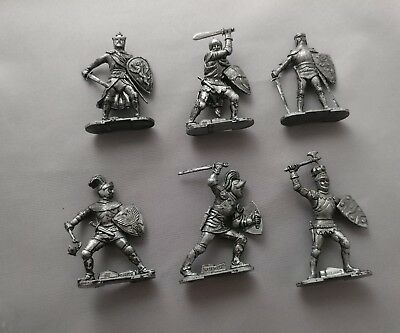 6 Knights Of The Roundtable Pewter Figures