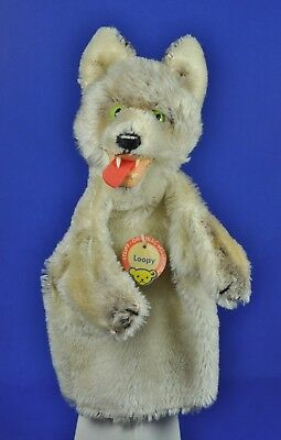 Steiff Hand Puppe / Puppet Wolf Loopy, 317 o. 0317,00, Schild name tag,  1953-67