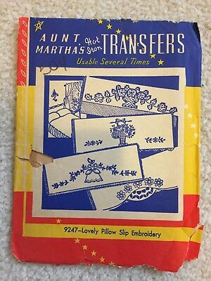 Vintage AUNT MARTHA'S Transfer Pattern 9247 Lovely Pillow Slip Embroidery Uncut