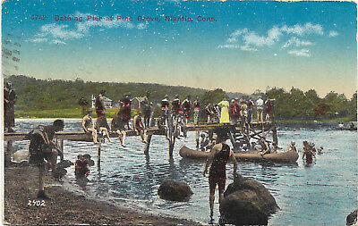 DB postcard 1917, Bathing Pier at Pine Grove, Niantic, Connecticut