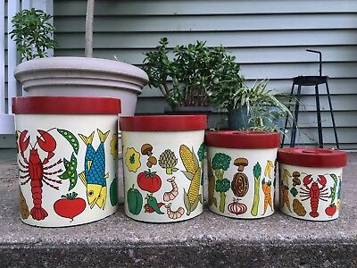 Vintage Nantucket Cuisineware National Silver Company Illustrated Canisters