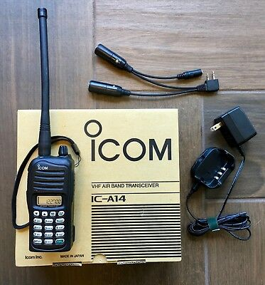 Icom IC-A14 VHF Air Band transceiver with Headset Adapter