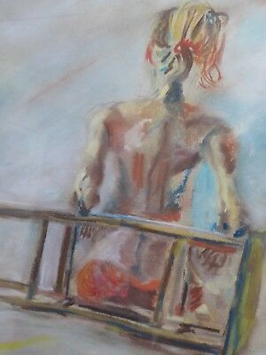 Pastel Nude With Stool  Artist Philip Horton Free Shipping To England