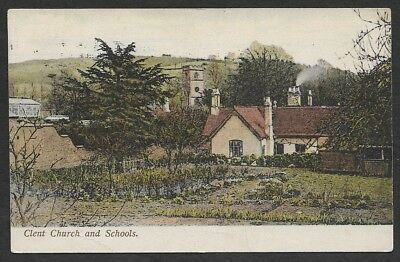 (111cents) Great Britain Clent Church and Schools Vintage Color Postcard
