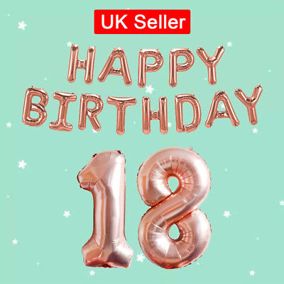 LARGE HAPPY BIRTHDAY SELF INFLATING BANNER BALLOON FOIL PARTY 16/18/21/3060th UK