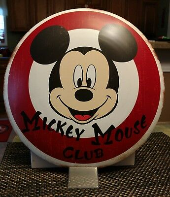Disney Mickey Mouse Club Button Metal Sign 13 3/4 Inches Round . New !