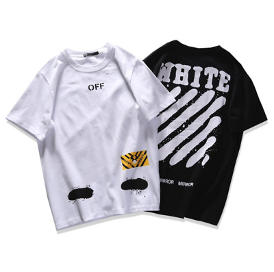 2018 New OFF WHITE Graffiti Print Men's Short Sleeve T-Shirt Cotton Unisex Tee