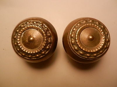 Circular Bead Design Brass Door Knob Pair Antique Eastlake