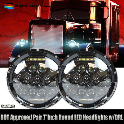 For Freightliner Century 75W 7inch Round Led Headlight Projector DRL Hi/Lo Beam