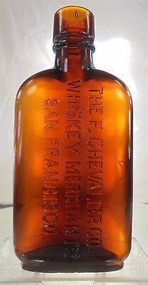 The Chevalier Co San Francisco California Tooled Top 1/4 Pt Whiskey Dandy Flask