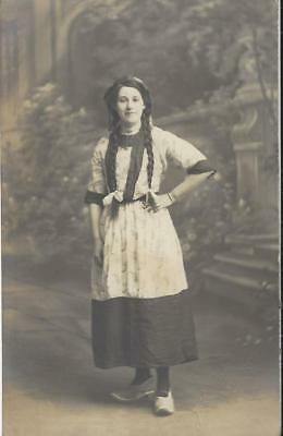 Crewe Cheshire - Young Lady In Dutch Costume, Long Hair Plaits Christmas 1911 Pc