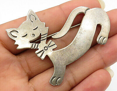 Bp1892 Vintage Minimal Kitty Ring Brooch Pin Cheap Sale 925 Sterling Silver