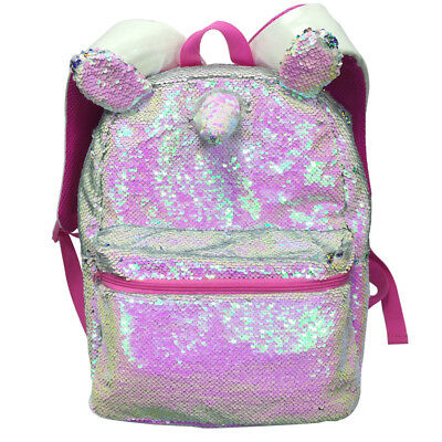 16 Inches Magic Unicorn Sequin Backpack Pink Colorful Rainbow Casual Fashion Bag