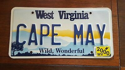 Cape May New Jersey 2000 West Virginia License Plate Wild Wonderful Vanity