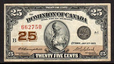 1923 Dominion Canada Fractional Currency - 25c Shin Plaster - Circulated F/VF*