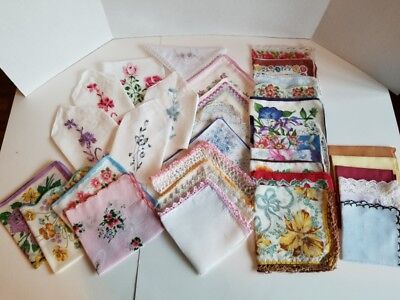 Vintage Ladies Hankies Mixed Lot of 35 - Great Condition