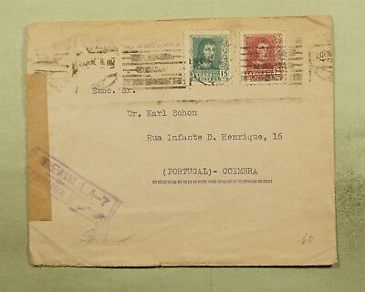 DR WHO 1939 SPAIN CANCEL TO PORTUGAL WWII CENSORED  d37828
