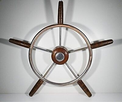 Vintage Boat Steering Wheel Copper Whit Some Chromed and Wood