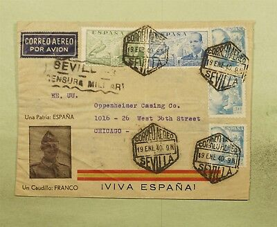 DR WHO 1940 SEVILLA SPAIN CANCEL AIRMAIL TO USA WWII CENSORED  d37703
