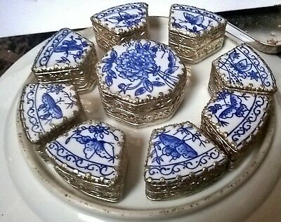 chinese metal porcelain lidded boxes