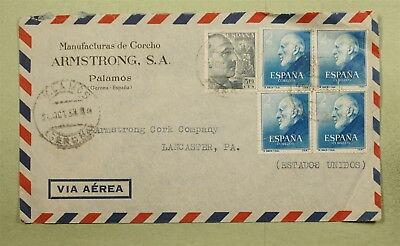Dr Who 1953 Spain To Usa Air Mail C38815