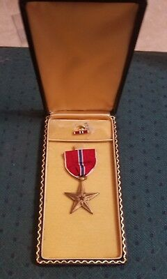 WWII era Military Bronze Star Medal and Strip Pin. Etched.