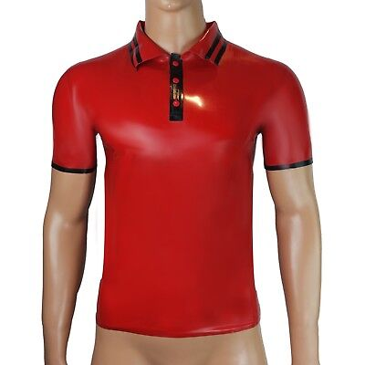 Rubber Latex Polo shirt T-shirt skinhead top red and black trim gummi rubber