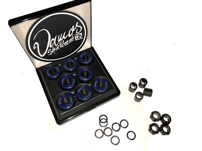 SKATEBOARD KUGELLAGER Set ABEC7 Bearings mit Axle Nuts Spacer & Speedrings VAMOS