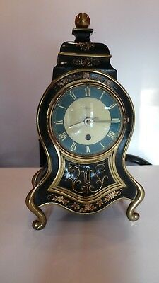 Vintage French Silvoz Paris Brass & Enamel Mantel Clock - In Working Order