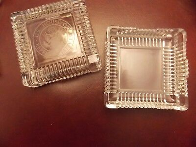 Vintage  US House of Representatives Etched Seal Clear Glass Square Desk Box