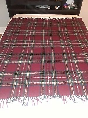 Vintage Highland Home Industries All Wool Woven In Scotland Plaid  Blanket.