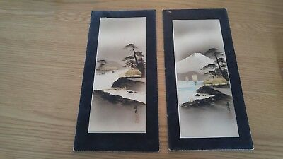 Pair of Antique Vintage Japanese Watercolour Silhouette Art Gold Leaf Painting