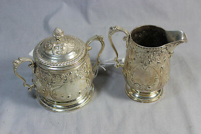 Sterling Silver Hand Chased Antique Coffee Creamer Sugar - 224 (LKE/N2)