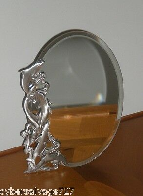 """5"""" x 7"""" Oval Pewter Dolphin Mirror Wall or Table Top Mount Nautical Wall Decor"""
