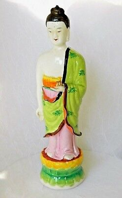 "~ ANTIQUE CHINESE GUAN YIN Figurine Hand Painted PORCELAIN GODDESS MARKED 13"" ~"