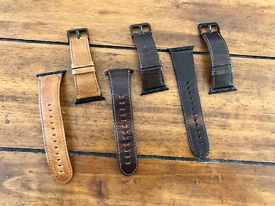 Genuine Leather Watch Straps for Apple Watch 38mm, Brown w/Black Lugs, Lot of 3
