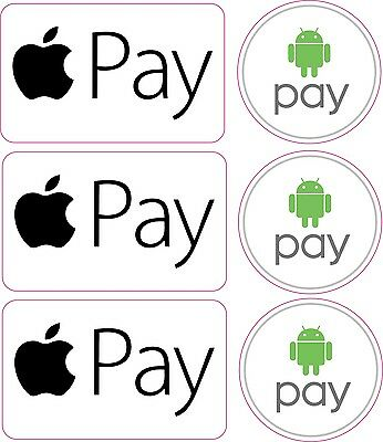CREDIT CARD LOGO STICKER DECALS x3 APPLE PAY, ANDROID PAY