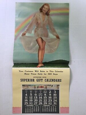 Lg ORIGINAL 1951 PINUP Nude Girl ADVERTISING CALENDAR SALESMAN'S SAMPLE 33""