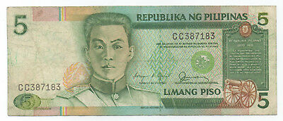 PHILIPPINES 5 Piso Old Note / VG Cond