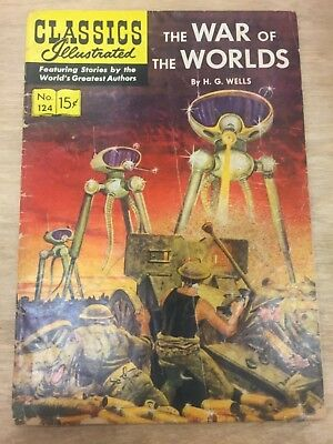 CLASSIC ILLUSTRATED #124, WAR OF THE WORLDS, (1955), VG + Shape