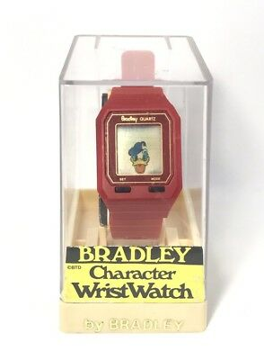 Very Rare Vintage Bradley Disney Donald Duck Character Wrist Watch NOS