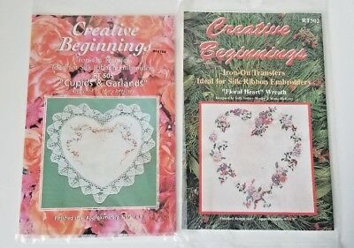 2 Iron-on Transfers~Floral Heart Wreath~Cupids & Garland~ Silk Ribbon Embroidery