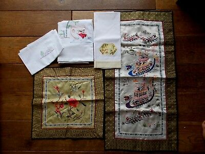 Vintage Hand Embroidered Oriental Textiles~Chinese~Japanese Figures~Cotton~Silk