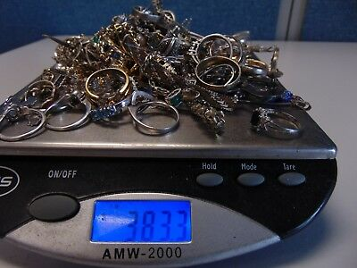 Lot of Sterling Silver Jewelry 383.3 Grams ALL Stamped
