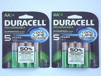 8 FRESH AA DURACELL RECHARGEABLE 2500mAh NiMH BATTERIES ION CORE 2 X 4 Packs NEW