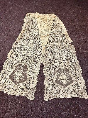 """Gorgeous Antique Cut Out Lace Long Table Runner 110"""" Long Intricate Detailed"""
